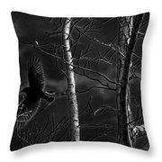 Crow Behind The Trees Throw Pillow