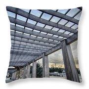 Cultured Stone Terrace Trellis Details Near Park In A City  Throw Pillow