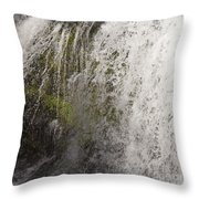 Curtain Of White Water Falling From Rocky Cliff Throw Pillow
