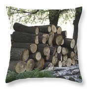 Cut Tree Trunks Piled Up For Further Processing After Logging Throw Pillow