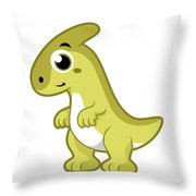 Cute Illustration Of A Parasaurolophus Throw Pillow