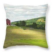 Cutting Hay In Summer On Maine Farm Throw Pillow