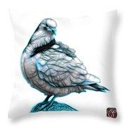 Cyan Pigeon Pop Art 5516 - Fs - Bb -  Modern Animal Artist James Throw Pillow