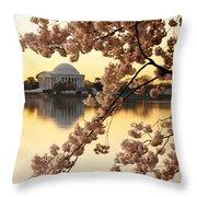 Dawn Over The Jefferson Memorial  Throw Pillow