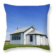 Defunct One Room Country School Building Throw Pillow