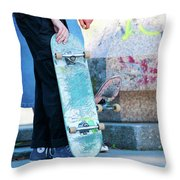 Detail Of Skateboard And Legs Throw Pillow