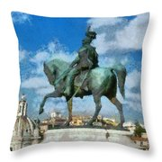 Details From Vittorio Emanuele Monument In Rome Throw Pillow