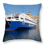 Diagoras Ferry Symi Throw Pillow