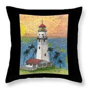 Diamond Head Lighthouse Hi Nautical Chart Map Art Throw Pillow