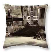 Digging A Ditch At The Side Of A Road In Roorkee Throw Pillow