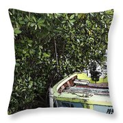 Docked By The Mangrove Trees Throw Pillow