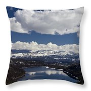 Donner Lake Donner Pass With Snow Throw Pillow