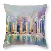 Downtown Dubai Skyline Throw Pillow