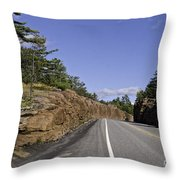 Driving Through A Rock Cut Throw Pillow