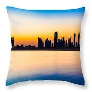 Dubai Skyline At Dusk Throw Pillow