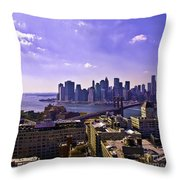 Dumbo View Of Lower Manhattan Throw Pillow