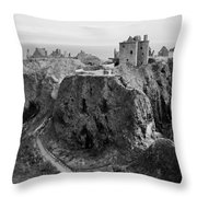 Dunnottar Castle Monochrome Throw Pillow