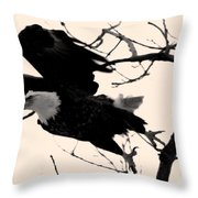 Eagles Along The Mississippi Throw Pillow