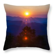 Early Morning Sunrise Over Blue Ridge Mountains Throw Pillow