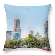 Early Morning Sunrise Over Charlotte City Skyline Downtown Throw Pillow