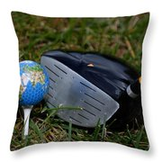 Earth Golf Ball And Golf Club Throw Pillow