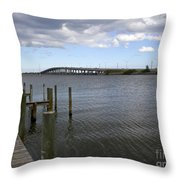 Eau Gallie Causeway Over The Indian River Lagoon At Melbourne Fl Throw Pillow
