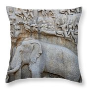 Elephant Sculpture At Mamallapuram  Throw Pillow