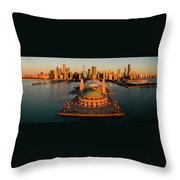 Elevated View Of The Navy Pier Throw Pillow