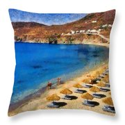 Elia Beach In Mykonos Island Throw Pillow