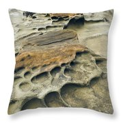 Eroded Sandstone Cliff Along The Ocean Throw Pillow
