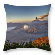 eruption at Gunung Bromo Throw Pillow