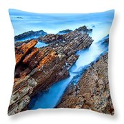 Eternal Tides - The Strange Jagged Rocks And Cliffs Of Montana De Oro State Park In California Throw Pillow