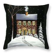 Evergreen Cottage Throw Pillow