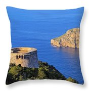 Famous Tower Of Savinar On Ibiza Island Throw Pillow