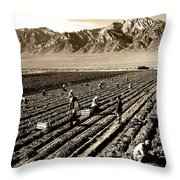 Farm Workers And Mt Williamson 1940s Throw Pillow