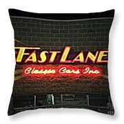 Fast Lane In Lights Throw Pillow