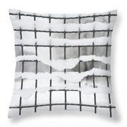 Fence With Snow Throw Pillow