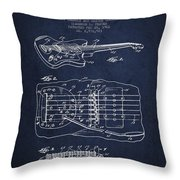 Fender Floating Tremolo Patent Drawing From 1961 - Navy Blue Throw Pillow