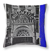 Film Homage Automatic 1 Cent Vaudeville Peep Show Arcade C.1890's New York City Collage 2013 Throw Pillow