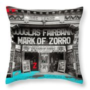 Film Homage Douglas Fairbanks The Mark Of Zorro 1920 The Leader Theater Washington D.c. 1920-2010 Throw Pillow