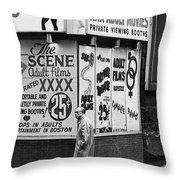 Film Homage Hard Core 1979 Porn Theater The Combat Zone Boston Massachusetts 1977 Throw Pillow