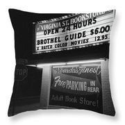 Film Noir Farewell My Lovely 1975 Brothel Guide Virginia St. Bookstore Reno Nevada 1979-2008 Throw Pillow