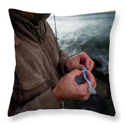 Fisherman Fishing While Storm Blows Throw Pillow