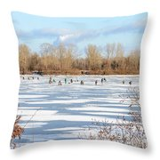 Fishermen On The Frozen River Throw Pillow