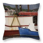 2 Fishing Boats At The Dock Throw Pillow
