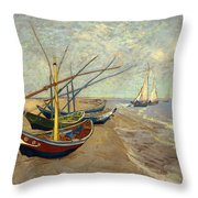 Fishing Boats On The Beach Throw Pillow