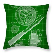 Fishing Reel Patent 1906 - Green Throw Pillow