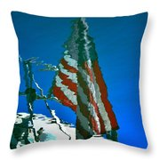Flag Day Reflection Throw Pillow by Newel Hunter