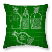 Flask Patent 1888 - Green Throw Pillow