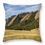 Flatirons With Golden Grass Boulder Colorado Throw Pillow